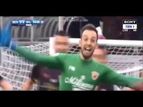 Alberto Brignoli Goalkeeper last minute goal 95'   Benevento - Milan 2:2 HD